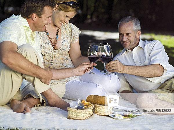 Zwei Männer und eine Frau stoßen mit Rotwein an