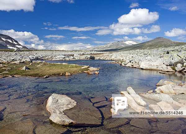 Der Bach Namnlauselva  Saltfjellet-Svartisen-Nationalpark  Provinz Nordland  Norwegen  Skandinavien  Europa
