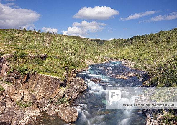 Der Fluss Bjollaga  Saltfjellet-Svartisen-Nationalpark  Provinz Nordland  Norwegen  Skandinavien  Europa