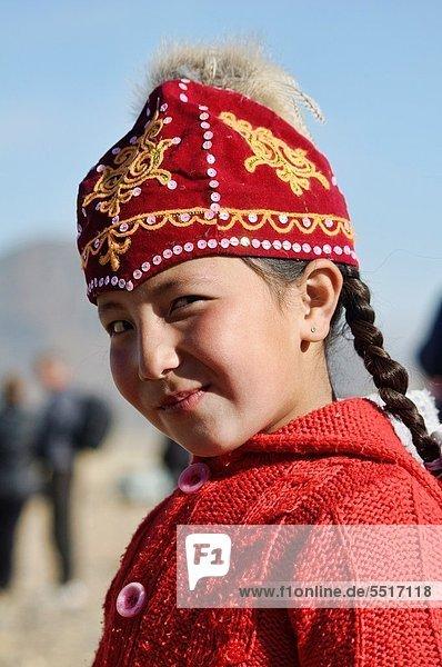 portrait of a Kazakh girl in the Altai Region of Bayan-Ölgii in Western Mongolia