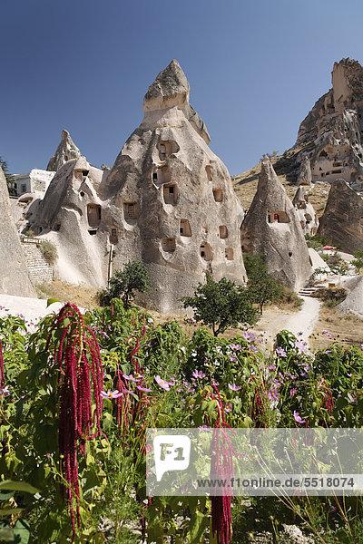 Cliff dwellings of Uchisar  Cappadocia  Central Anatolia  Turkey  Asia