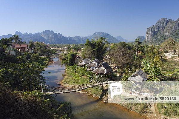 Vientiane Hauptstadt Dorf Vietnam Asien Laos Vang Vieng