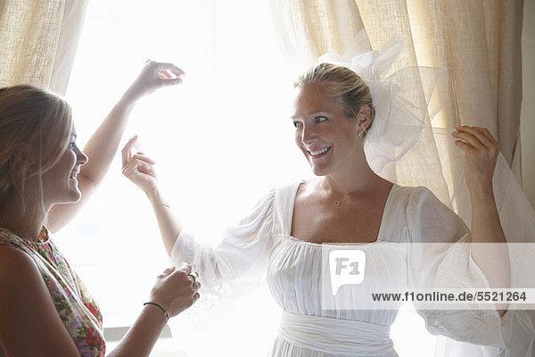 Frau  Braut  Hilfe  Schleier