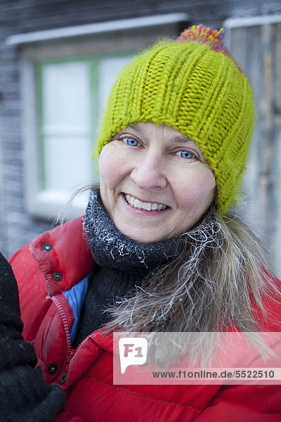 Smiling woman wearing beanie hat