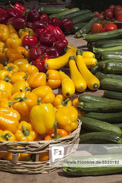 Gelbe und rote Paprika  gelbe und grüne Zucchini und rote Tomaten