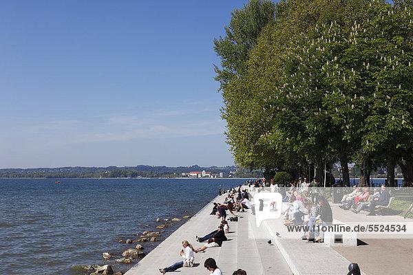 Promenade on Lake Constance  Bregenz  Vorarlberg  Austria  Europe  PublicGround
