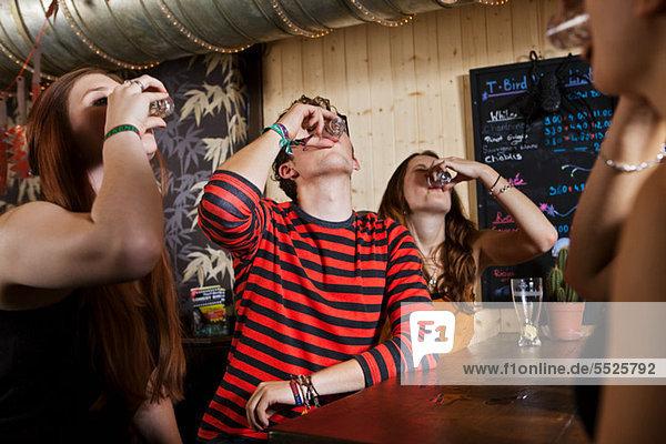 Junge Freunde trinken aus Schnapsglas in der Bar