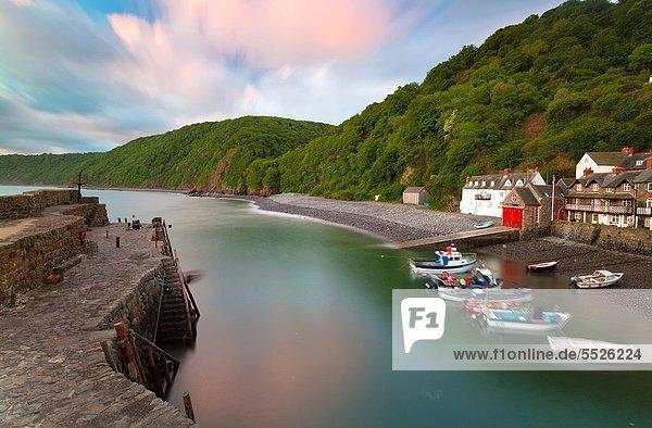 Hafen  Europa  Morgen  Großbritannien  Dorf  North Devon  früh  Clovelly  England