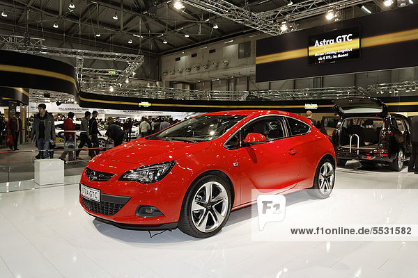 Opel Astra GTC on display at the Vienna Auto Show 2012  car show  Vienna  Austria  Europe