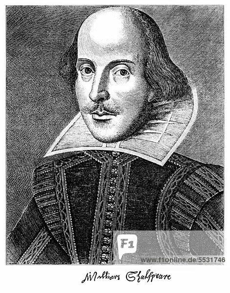 Historischer Kupferstich  1623  Portrait von William Shakespeare  1564 - 1616  ein englischer Dramatiker  Lyriker und Schauspieler
