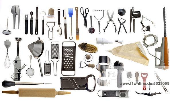 Verschiedene Küchengeräte  Kochwerkzeuge  Küchenutensilien