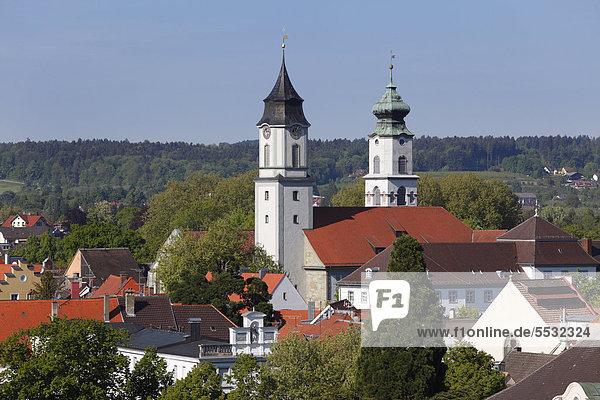 Kirchtürme von Münster Unserer Lieben Frau und St Stephan  Lindau am Bodensee  Schwaben  Bayern  Deutschland  Europa