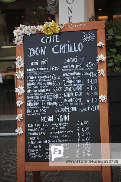 Speisekarte des Restaurant Don Camillo in Brescello  Emilia Romagna  Italien  Europa