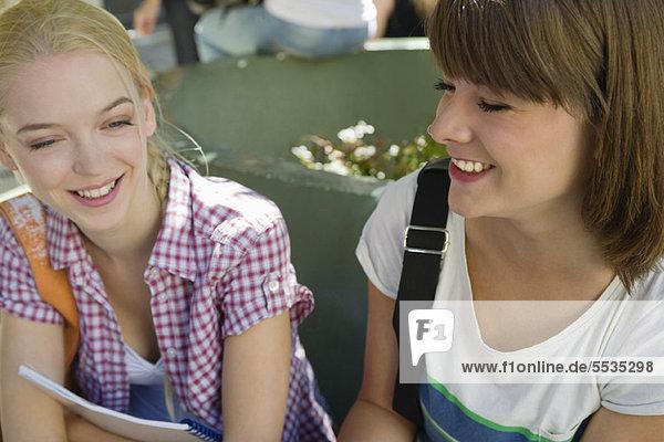 Weibliche Freunde beim Chatten im Freien