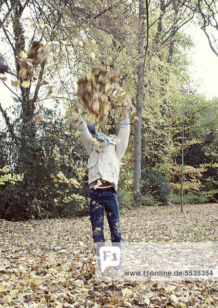 Boy jumping to reach tree branches with autumn leaves  blurred motion