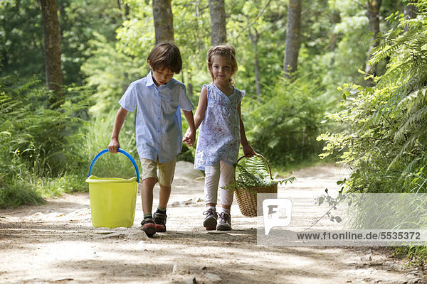 Kinder gehen Hand in Hand im Wald  tragen Korb und Eimer