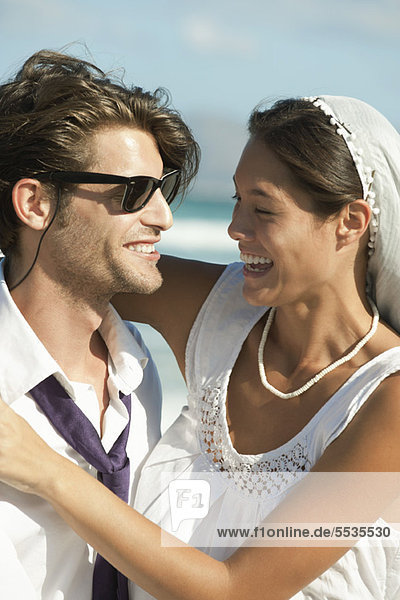 Bride and groom at the beach  portrait