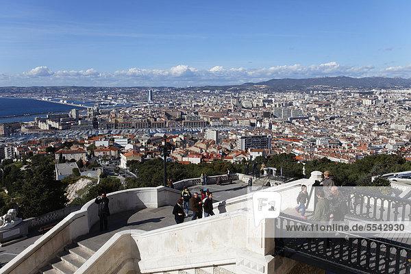 City of Marseille  Marseilles seen from basilica of Notre Dame de la Garde  Bouches-du-Rhone  France  Europe