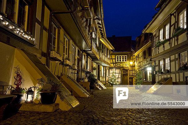 Half-timbered houses  cobbled streets at night  Gengenbach  Black Forest  Baden-Wuerttemberg  Germany  Europe