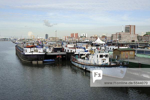 Boote im Maashaven Hafen  Nieuwe Maas Fluss  Rotterdam  Holland  Nederland  Niederlande  Europa