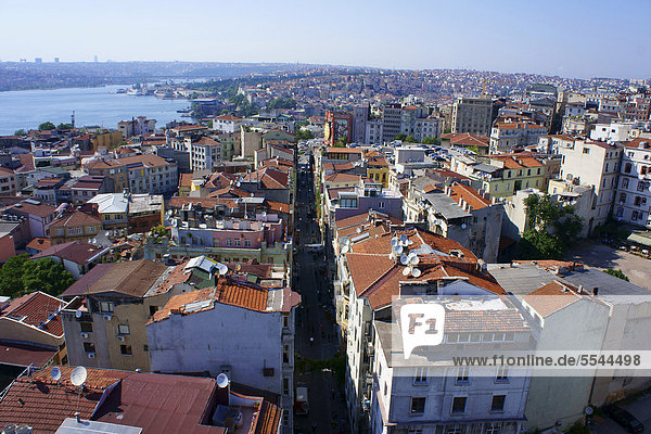 View from Galata Tower over the city  Istanbul  Turkey