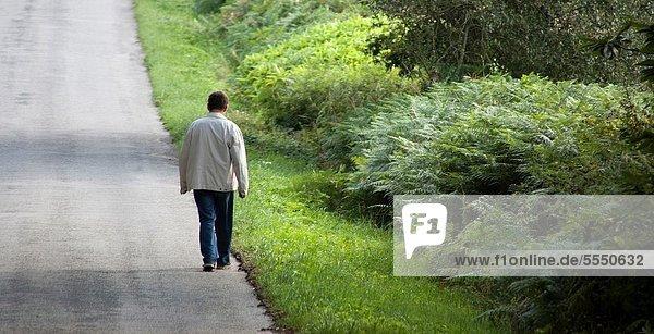Lone man walking along a road Green  nature  solitude
