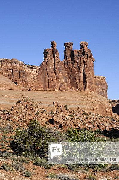 Steinformation Three Gossips  Arches Nationalpark  Utah  USA