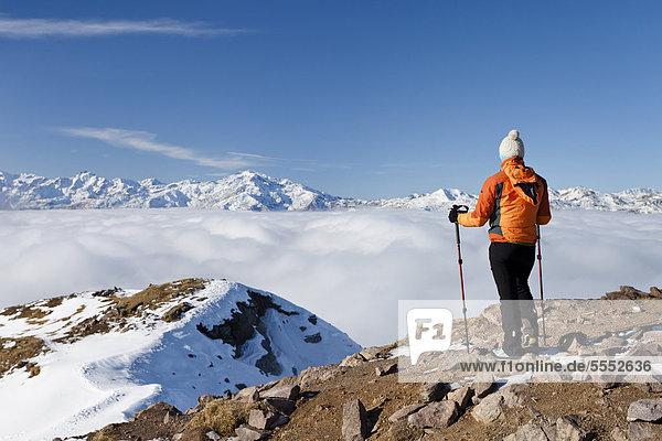 Wanderer auf der Laugenspitze oberhalb der Laugenalm  hinten die Ultner Berge  Gampenpass  Südtirol  Italien  Europa Wanderer auf der Laugenspitze oberhalb der Laugenalm, hinten die Ultner Berge, Gampenpass, Südtirol, Italien, Europa