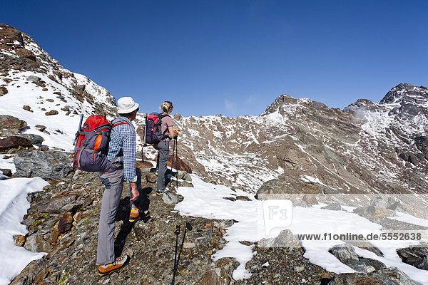 Wanderer beim Aufstieg zur Hinteren Eggenspitze im Ultental oberhalb des Grünsees  hinten die Zufrittspitze  Südtirol  Italien  Europa Wanderer beim Aufstieg zur Hinteren Eggenspitze im Ultental oberhalb des Grünsees, hinten die Zufrittspitze, Südtirol, Italien, Europa