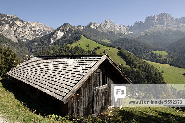 nahe Hütte Europa frontal Dolomiten Trentino Südtirol Italien Rosengarten