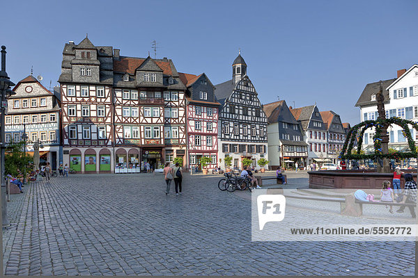 Half-timbered houses on the Marktplatz square in the town of Butzbach  Hesse  Germany  Europe  PublicGround