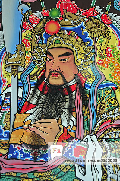 Lu Dongbin  a famous Daoist immortal of Chinese mythology  Taoism  Chinese temple on Ho Road  Wat Putaugongmaa  Nong Khai  Thailand  Asia  PublicGround