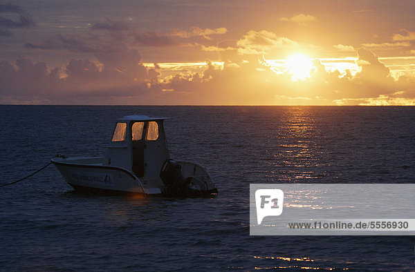 Africa  Guinea-Bissau  Fishing boat in sea at sunset