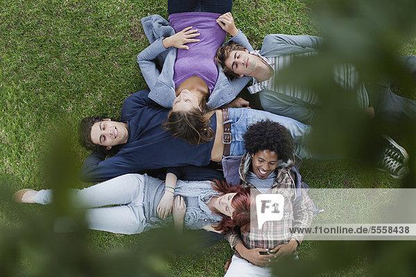Studenten liegen im Gras auf dem Campus
