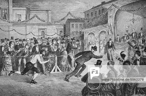 Im Central Skating-Ring in Berlin  Deutschland  historischer Holzstich  ca. 1880