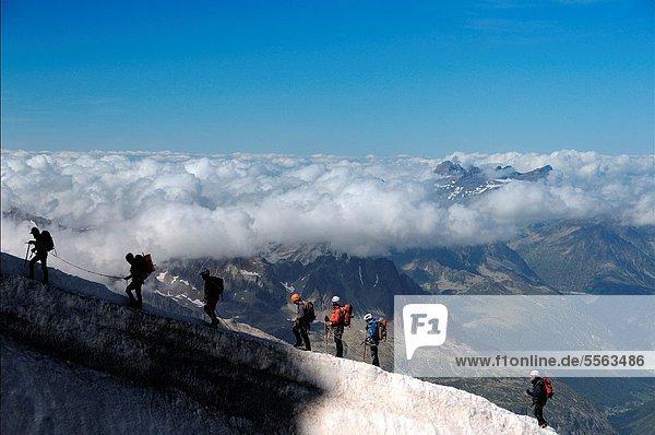 Bergsteiger  nahe  Frankreich  französisch  Alpen