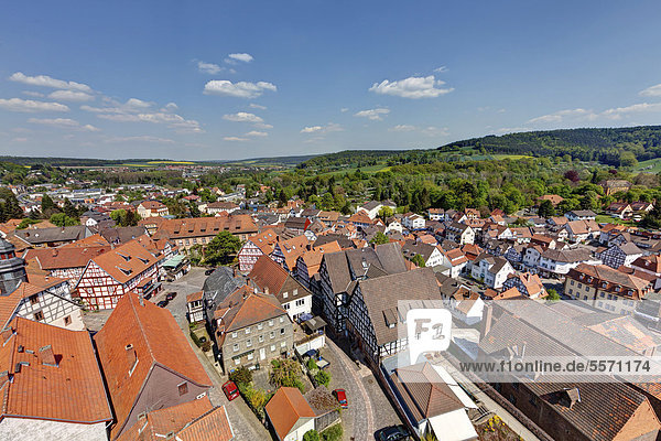 View from Hinterburg Castle over the historic town centre of Schlitz  Vogelsberg district  Hesse  Germany  Europe