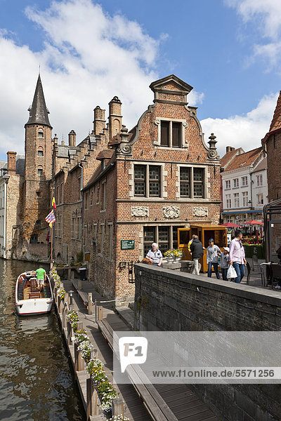 Historical Centre with guild houses on Rozenhoedkaai  Quay of the Rosary  historic city centre of Bruges  UNESCO World Heritage Site  West Flanders  Flemish Region  Belgium  Europe
