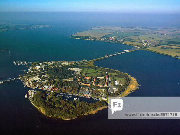 Daenholm Island between Stralsund and Ruegen, Germany, aerial photo