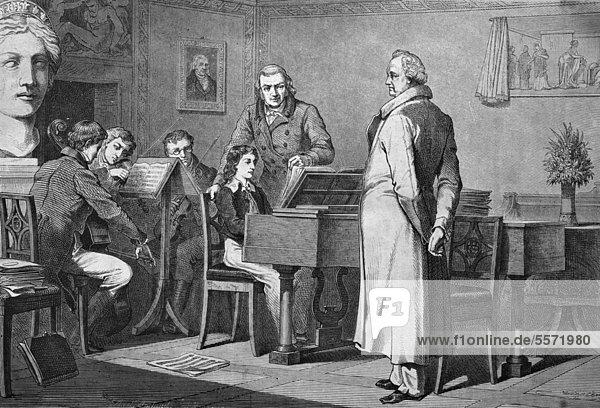 Der junge Mendelsohn-Bartholdy bei Goethe  historischer Stich  1869