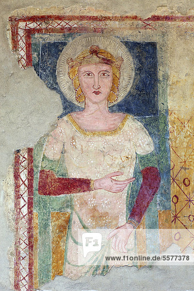 Italy  Campania  Palomonte  Santa Maria di Sperlonga church interiors fresco