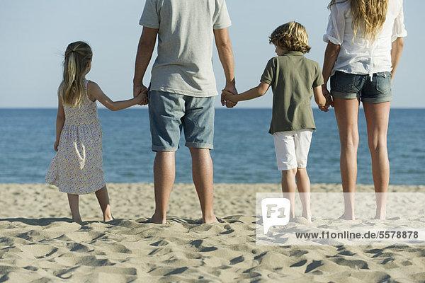 Familie beim Händchenhalten am Strand  Rückansicht
