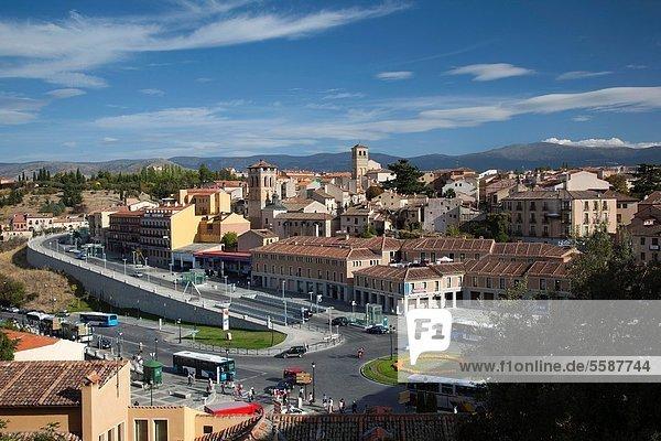Stadt  Ansicht  Erhöhte Ansicht  Aufsicht  heben  Segovia  Spanien