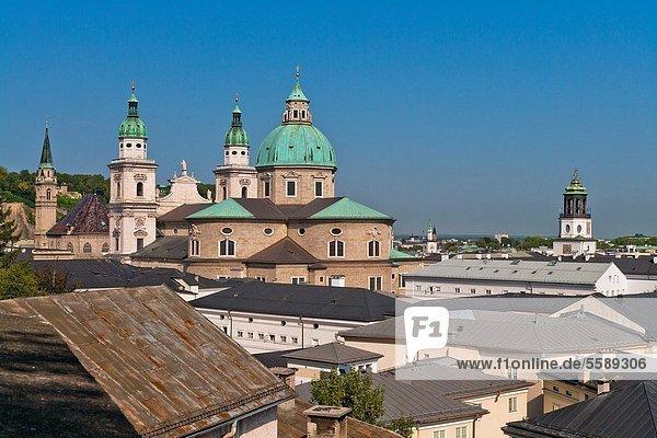 Overview of Salzburg with Salzburg Cathedral  Salzburg  Austria  Europe