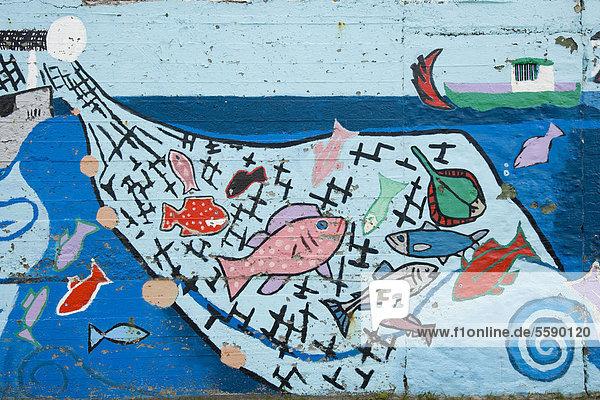 Netz voller Fische  Wandmalerei  Graffiti  Island  Europa