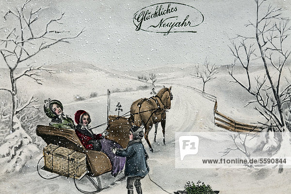 Happy New Year  children taking a sleigh ride in the snow  historical postcard  circa 1900