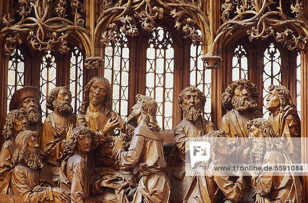 Heilig-Blut-Altar von Riemenschneider  St. Jakobskirche  Rothenburg o. d. Tauber  Hohenlohe  Franken  Bayern  Deutschland  Europa