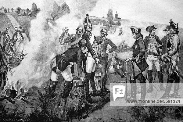 Friedrich der Große unter seinen Grenadieren  historischer Holzstich  1886