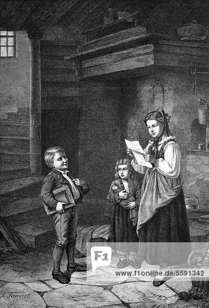 Junge zeigt Zeugnis daheim vor  historischer Holzstich  1886