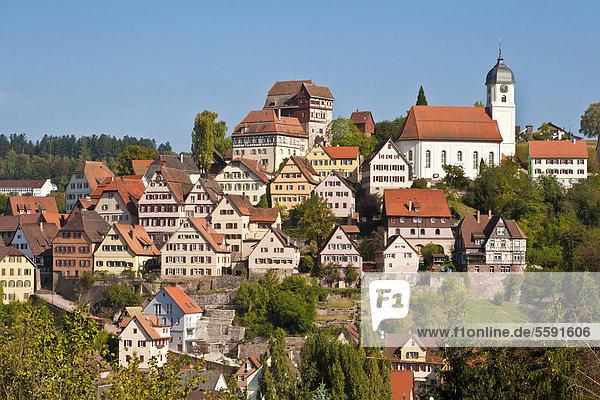Altstadt in Altensteig  Schwarzwald  Baden-Württemberg  Deutschland  Europa